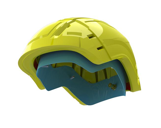 vérin gonflable dans le casque de ski