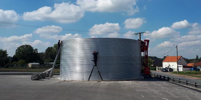 overhead tank installation